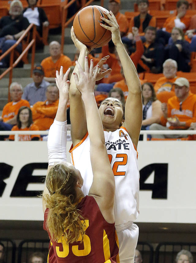 Oklahoma State's Brittney Martin (22) shoots over Iowa State's Chelsea Poppens (33) during the women's college basketball game between Oklahoma State and Iowa State at  Gallagher-Iba Arena in Stillwater, Okla.,  Sunday,Jan. 20, 2013.  OSU won 71-42. Photo by Sarah Phipps, The Oklahoman