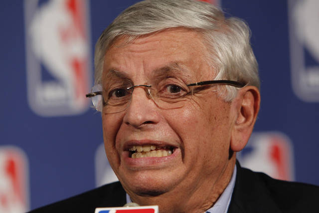 FILE - In this Sept. 15, 2011, file photo, NBA commissioner David Stern speaks at a news conference after the NBA basketball team owners meeting in Dallas. The owners' labor relations committee and the union's executive committee, perhaps joined by some All-Stars, are to meet Friday, Sept. 30 and have committed to keep talking throughout the weekend. (AP Photo/LM Otero, File)