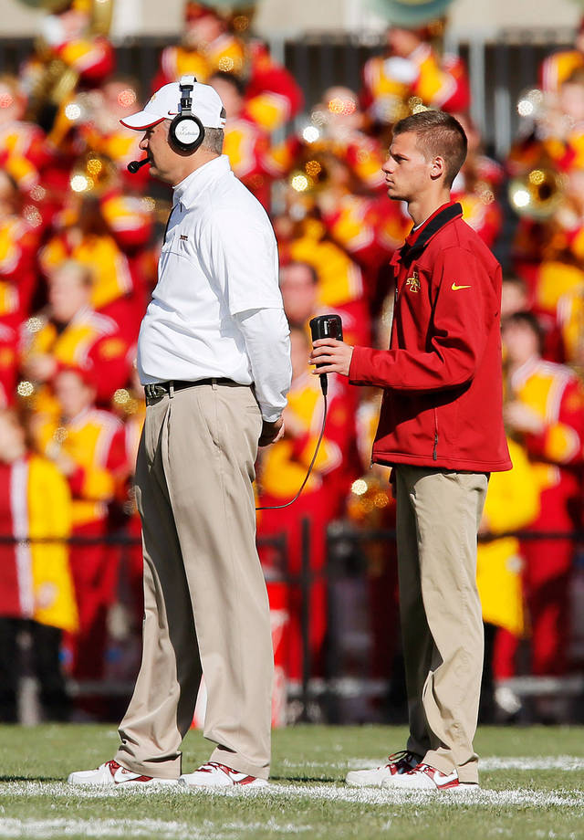 Iowa State head coach Paul Rhoads with assistant during the Cyclone's football game against the Oklahoma Sooners, Nov. 3, 2012. Photo by Nate Billings, The Oklahoman
