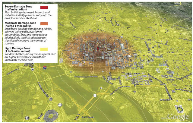 """This map, released by the Federal Emergency Management Agency, and contained in a report from a study that analyzed the likely effects from terrorists setting off a 10-kiloton nuclear device a few blocks north of the White House. The map shows a summary of severe, moderate and light damage zones, and types of damage or injuries likely to be encountered by responders. The report predicted terrible devastation for roughly one-half mile in every direction, with buildings reduced to rubble the way that World War II bombing raids destroyed parts of Berlin. But outside that blast zone, the study concluded, even such a nuclear explosion would be pretty survivable. The little-noticed, 120-page study was hardly a summer blockbuster, produced in November 2011 by the Homeland Security Department and the National Nuclear Security Administration. It was called """"Key Response Planning Factors for the Aftermath of Nuclear Terrorism,"""" and even though the government considers it """"for official use only"""" and never published it online, it circulated months later on scientific and government watchdog websites. (AP Photo/FEMA)"""