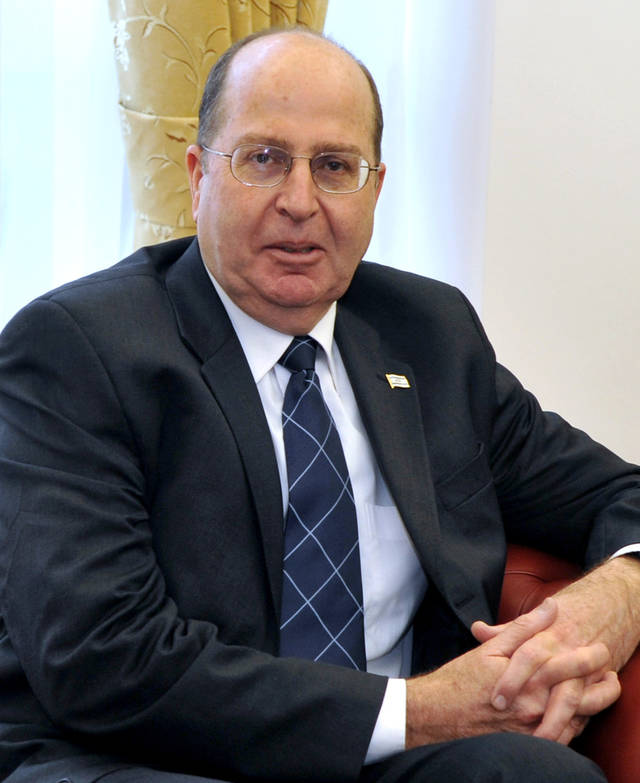 FILE --In this March 9, 2011 file photo, Vice Prime Minister of the State of Israel Moshe Ya?alon is seen during his talks with Macedonian President Gjorge Ivanov in Skopje, Macedonia. Israeli Prime Minister Benjamin Netanyahu has appointed former military chief Moshe Yaalon as defense minister Sunday, March 17, 2013. (AP Photo/Boris Grdanoski, File)