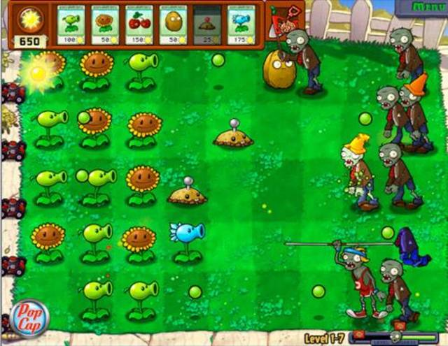 Zombies invade your lawn, looking for brains, and plants help fight them in Plants vs. Zombies app for the iPod Touch or iPhone.