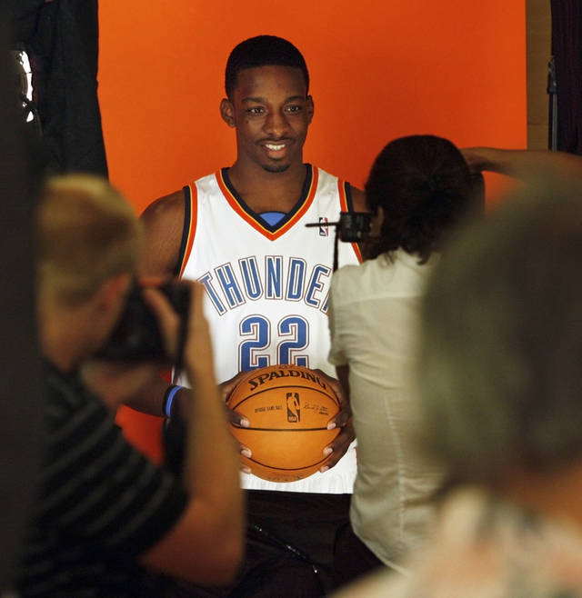Jeff Green poses for a photo during media day for the Oklahoma City Thunder NBA basketball team at a hotel in Oklahoma City, Monday, Sept. 29, 2008. (AP Photo/The Oklahoman, Nate Billings) ORG XMIT: OKOKL101
