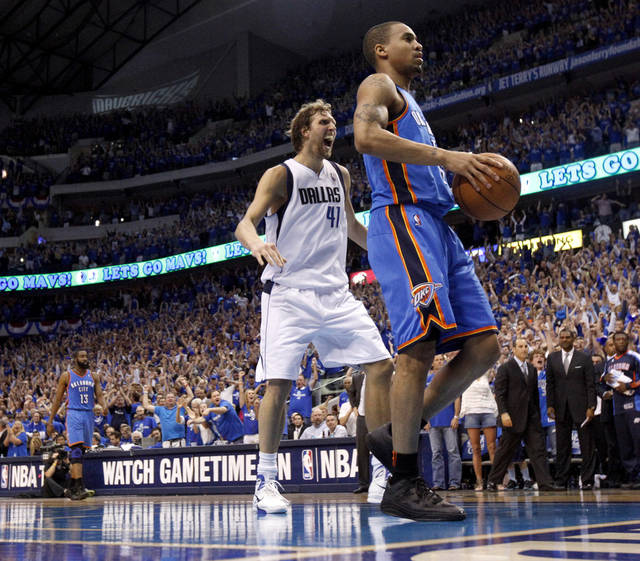 Dirk Nowitzki (41) of Dallas  reacts in front of Oklahoma City's Eric Maynor (6)during game 5 of the Western Conference Finals in the NBA basketball playoffs between the Dallas Mavericks and the Oklahoma City Thunder at American Airlines Center in Dallas, Wednesday, May 25, 2011. Photo by Bryan Terry, The Oklahoman