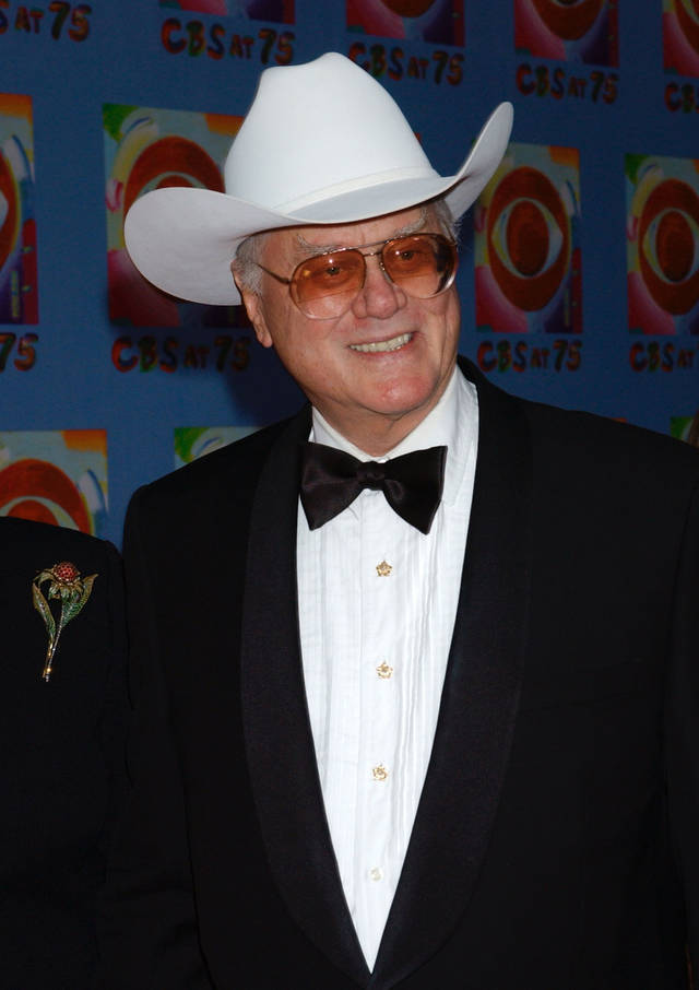 "Actor Larry Hagman from the television series ""Dallas,"" arrives at CBS's 75th anniversary celebration Sunday, Nov. 2, 2003, in New York. (AP Photo/Louis Lanzano)"