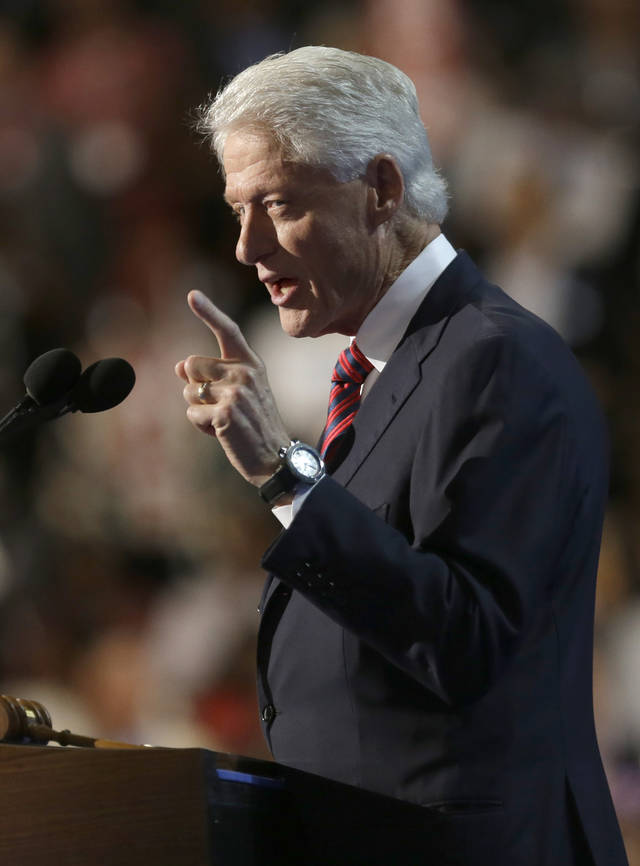 Former President Bill Clinton addresses the Democratic National Convention in Charlotte, N.C., on Wednesday, Sept. 5, 2012. (AP Photo/David Goldman)