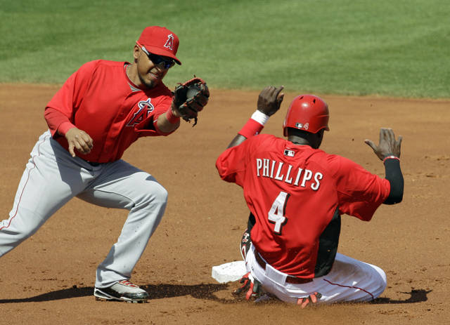 Cincinnati Reds' Brandon Phillips (4) steals second base as Los Angeles Angels second baseman Maicer Izturis takes the throw in the first inning of a spring training baseball game on Wednesday, March 28, 2012, in Goodyear, Ariz. (AP Photo/Mark Duncan)