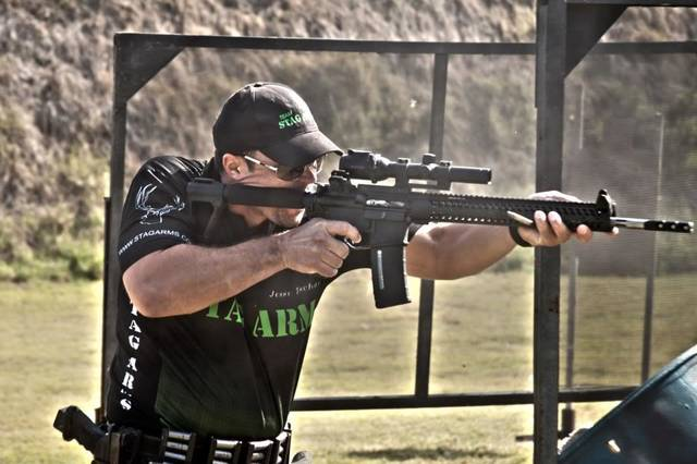 Jesse Tischauser of Edmond competes in a 3-gun match