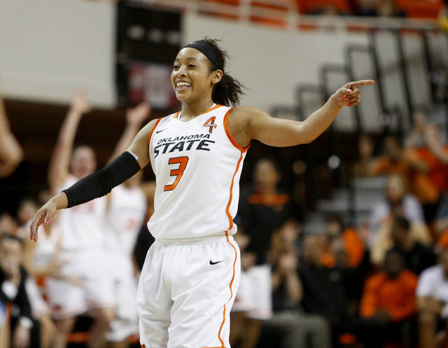 Oklahoma State's Tiffany Bias (3) celebrates after a basket during the women's NIT semifinal college basketball game between Oklahoma State University (OSU) and San Diego at Gallagher-Iba Arena in Stillwater, Okla., Wednesday, March 28, 2012. Photo by Bryan Terry, The Oklahoman