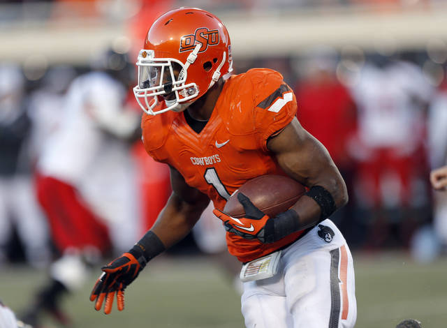 Oklahoma State's Joseph Randle (1) rushes during a college football game between Oklahoma State University and the Texas Tech University (TTU) at Boone Pickens Stadium in Stillwater, Okla., Saturday, Nov. 17, 2012. Photo by Sarah Phipps, The Oklahoman