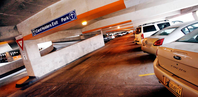The Santa Fe Parking Garage is consistently full despite hundreds of customers with Devon Energy recently moving to the company�s new garage at Park and Hudson avenues. Photo by JIM BECKEL, THE OKLAHOMAN
