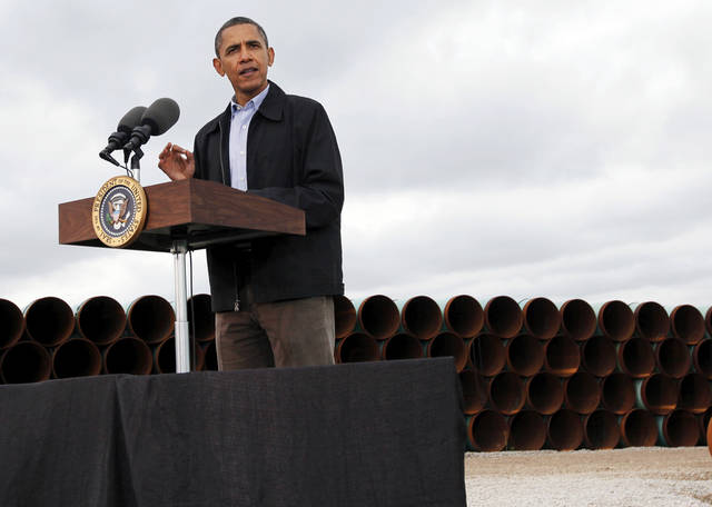 President Barack Obama speaks about energy at the TransCanada Pipe Yard near Cushing, Okla., Thursday, March 22, 2012. Photo by Nate Billings, The Oklahoman