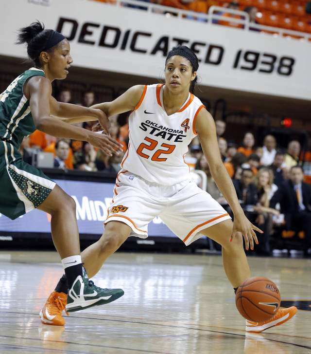 Oklahoma State's Brittney Martin (22) tries to get by Cal Poly's Brittany Woodard (32) during the women's college basketball game between Oklahoma State and Cal Poly at  Gallagher-Iba Arena in Stillwater, Okla., Friday, Nov. 9, 2012. Photo by Sarah Phipps, The Oklahoman
