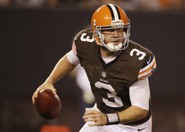 FILE - This Aug. 24, 2012 file photo shows Cleveland Browns quarterback Brandon Weeden scrambling against the Philadelphia Eagles in an NFL preseason football game in Cleveland. Youth and inexperience have taken over the most important position in the NFL. Ten starting quarterbacks will have one year or less of experience this season, with five teams letting rookies run the show. (AP Photo/Mark Duncan, File) ORG XMIT: NY157
