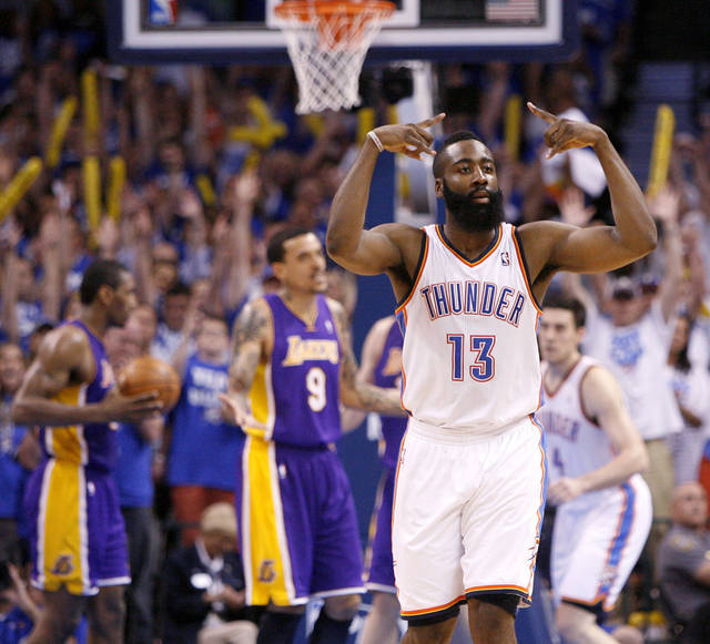 Oklahoma City's James Harden (13) celebrates after a three-point basket during Game 2 in the second round of the NBA playoffs between the Oklahoma City Thunder and L.A. Lakers at Chesapeake Energy Arena in Oklahoma City, Wednesday, May 16, 2012.  Oklahoma City won 77-75. Photo by Bryan Terry, The Oklahoman