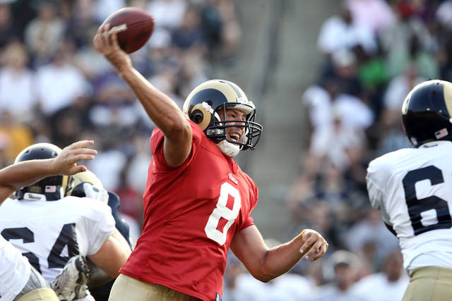Rams quarterback Sam Bradford will see action in Saturday night's preseason game against the Vikings. AP photo, St. Louis Post-Dispatch, Erik M. Lunsford