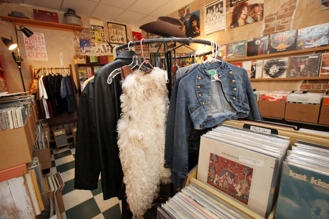 The Trolley Stop Record Shop in Oklahoma City also features vintage clothing.