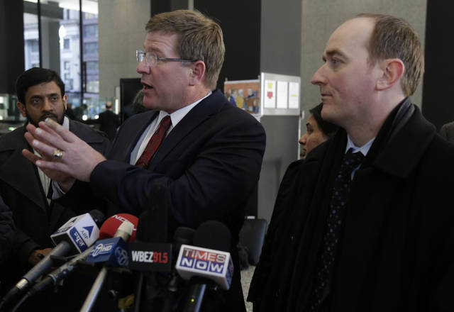 Charles Swift, left, and Patrick Blegen attorneys for Chicago businessman Tahawwur Rana speak after their client's sentencing in federal court Jan. 17, 2013 in Chicago. U.S. District Court Judge Harry D. Leinenweber sentenced Rana to 14 years for his role in aiding a terrorist group that took credit for the deadly 2008 attacks in Mumbai, India. Rana was cleared in 2011 of involvement in the Mumbai siege that killed more than 160 people, but he was convicted of lesser charges. They included providing material support to a Pakistani militant group that took responsibility for the Mumbai attack and a planned attack in Denmark. (AP Photo/M. Spencer Green)