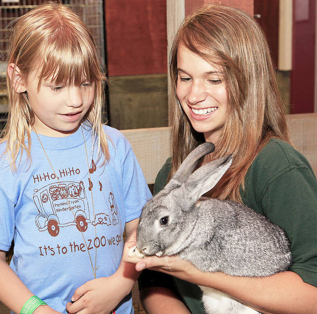Kinsey Winters holds a chinchilla rabbit for Hannah Johnson, 6.