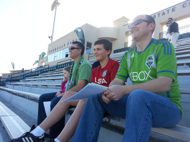 From left, Shayne Hudson, Braden Erb and Rudy Erb take in the view from their new seats at Pribil Stadium in Oklahoma City. Photo by Chris Brannick, The Oklahoman