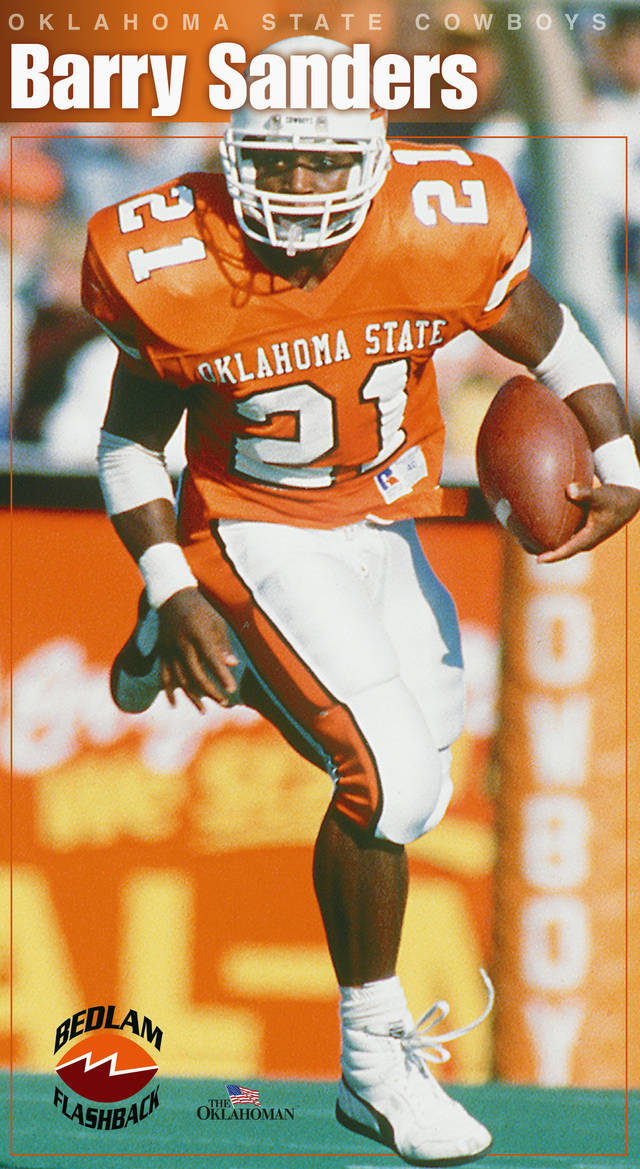 BARRY SANDERS POSTER GRAPHIC with photo: OKLAHOMA STATE UNIVERSITY / COWBOYS FOOTBALL: OSU running back Barry Sanders during game against Missouri in Stillwater. Staff Photo by Paul Hellstern