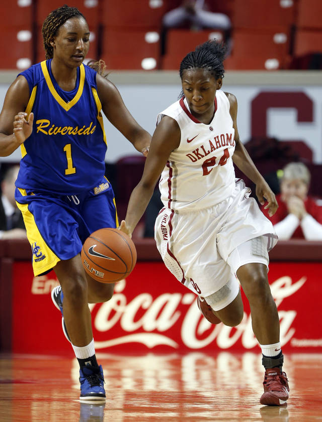 Oklahoma&#039;s Sharane Campbell (24) brings the ball down the court in front of Kiara Harewood (1) as the University of Oklahoma Sooners (OU) play the Riverside Highlanders in NCAA, women&#039;s college basketball at The Lloyd Noble Center on Thursday, Dec. 20, 2012  in Norman, Okla. Photo by Steve Sisney, The Oklahoman