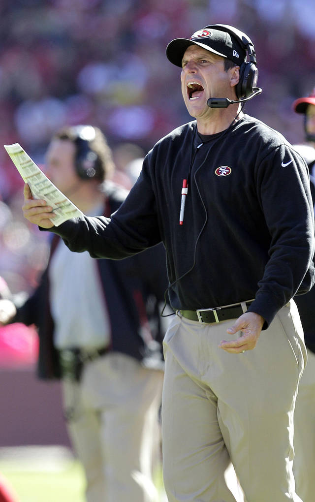 San Francisco 49ers head coach Jim Harbaugh yells during the second quarter of an NFL football game against the Buffalo Bills in San Francisco, Sunday, Oct. 7, 2012. (AP Photo/Tony Avelar)