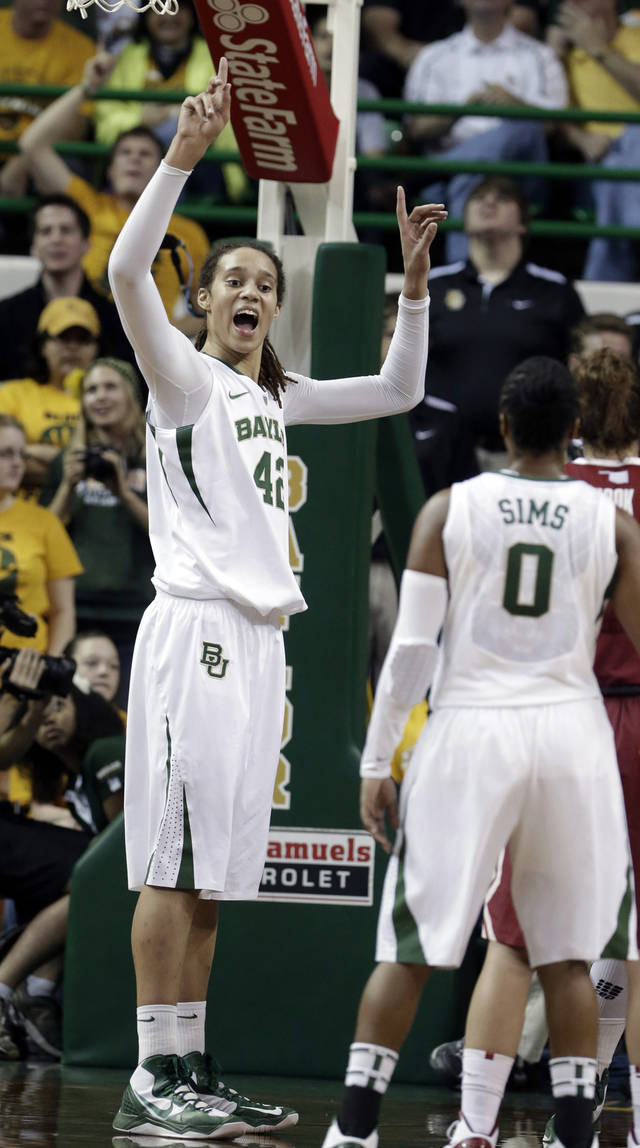 Baylor's Brittney Griner (42) reacts after she blocked a shot against Oklahoma's Aaryn Ellenberg during the second half of a NCAA college basketball game Saturday, Jan. 26, 2013, in Waco Texas.  It was Griners' 665th career blocked shot, surpassing the NCAA women's record set by Louella Tomlinson for St. Mary's in California from 2007-11. Baylor won 82-65.  (AP Photo/LM Otero) ORG XMIT: TXMO111