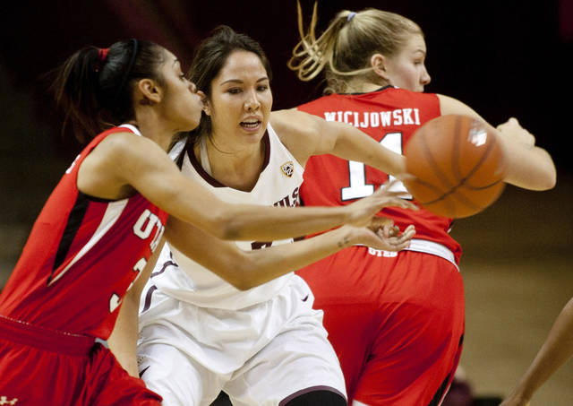 Arizona State's Joy Burke, middle, defends as Utah's Iwalani Rodrigues passes during the first half of an NCAA college basketball game Friday, Feb. 15, 2013, in Tempe, Ariz. (AP Photo/The Arizona Republic, Cheryl Evans) MAGS OUT  NO SALES  MESA OUT  MARICOPA COUNTY OUT