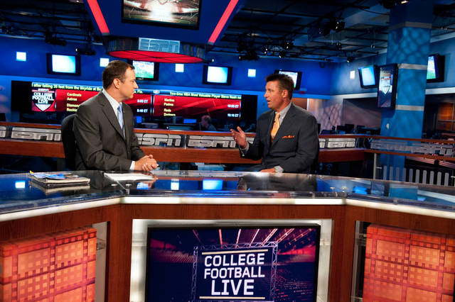 OSU football coach Mike Gundy, right, talks with ESPN's Joe Schad on College Football Live. (Photo Courtesy of ESPN)