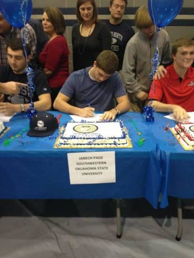 Edmond North&#039;s Jerech Page signs his letter of intent to play at Southwestern Oklahoma State. PHOTO PROVIDED
