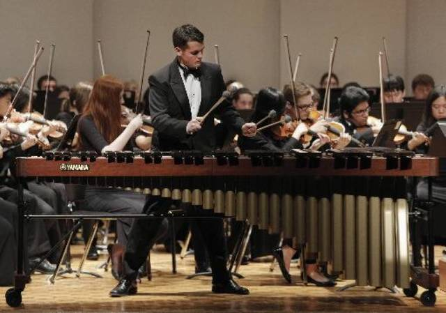 Clayton Smith performs a marimba solo with the Oklahoma Youth Orchestra during its Winter Concert.