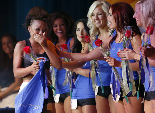 Whitney, of Kansas City, Missouri, reacts after being named to the 2012-13 Thunder Girls squad at the end of the Thunder Girls dance team final auditions at Riverwind Casino in Norman, Okla., Thursday, Aug. 2, 2012. Photo by Nate Billings, The Oklahoman