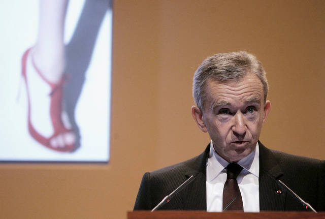 FILE - In this Feb. 5, 2009 file photo, Bernard Arnault. Chairman and CEO of LVMH Moet Hennessy Louis Vuitton, the Paris-based luxury goods empire, presents the group's 2008 results in Paris. La Libre Belgique newspaper reported Saturday Sept.8, 2012 that Arnault's citizenship application was confirmed by the head of Belgium's naturalization office. French media drew a connection to French President Francois Hollande's plan to raise the tax rate on France's highest earners to 75 percent. (AP Photo/Michel Euler, File)