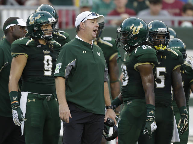 FILE - This Sept. 29, 2012 file photo shows South Florida head coach Skip Holtz during the second quarter of an NCAA college football game against Florida State, in Tampa, Fla. Five years after soaring into the national spotlight as one of college football's fastest growing programs, the South Florida Bulls are struggling to become relevant again. (AP Photo/Chris O'Meara, File)