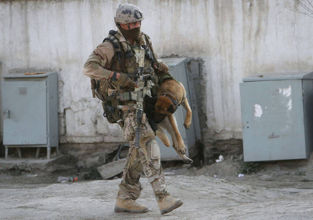 FILE - A soldier, part of the NATO forces, carries a sniffing dog after a gun battle in Kabul, Afghanistan, in this April 16, 2012 file photo. A brazen, 18-hour Taliban attack on the Afghan capital ended early Monday when insurgents who had holed up overnight in two buildings were overcome by heavy gunfire from Afghan-led forces and pre-dawn air assaults from U.S.-led coalition helicopters. (AP Photo/Musadeq Sadeq, File)
