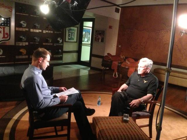 Texas coach Mack Brown, left, speaks with Fox Sports 1's Andy Roddick. PHOTO COURTESY OF FOX COLLEGE FOOTBALL
