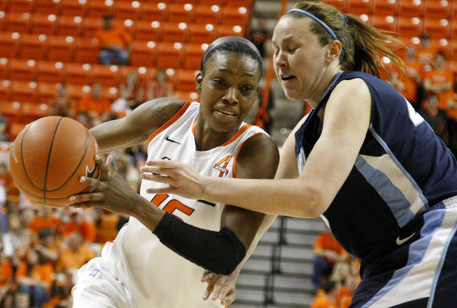 Oklahoma State's Toni Young (15) tries to get past San Diego's Kameron Knutson (45) during the women's NIT semifinal college basketball game between Oklahoma State University (OSU) and San Diego at Gallagher-Iba Arena in Stillwater, Okla., Wednesday, March 28, 2012. Oklahoma State won 73-57. Photo by Bryan Terry, The Oklahoman