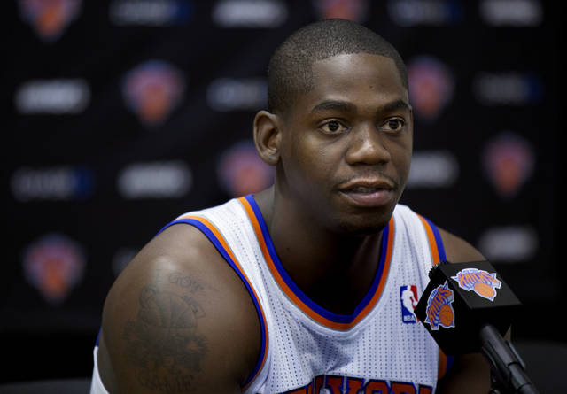 NBA BASKETBALL: New York Knick Ronnie Brewer answers a question during Media Day at the New York Knicks training facility in Greenburgh, N.Y. Monday, Oct. 1, 2012. (AP Photo/Craig Ruttle) ORG XMIT: NYCR102