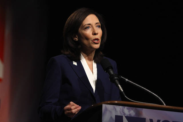 Democratic U.S. Sen. Maria Cantwell, answers a question during the first and only debate with her Republican challenger, Washington State Sen. Michael Baumgartner, at the KCTS television studios on Friday, Oct. 12, 2012, Seattle. (AP Photo/The Seattle Times, John Lok) MAGS OUT; NO SALES; SEATTLEPI.COM OUT; MANDATORY CREDIT