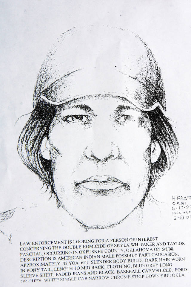 MURDERS, SHOOTING DEATHS, TAYLOR PLACKER, TAYLOR DAWN PASCHAL-PLACKER , SKYLA JADE WHITAKER, WELEETKA, SKETCH: Drawing of a person of interest in the murder of Taylor Paschal-Placker and Skyla Whitaker, Friday, June 13, 2008.   Taylor Paschal-Placker and her friend  Skyla Whitaker were shot and killed last Sunday on the dirt road near one of their homes, Thursday, June 12, 2008.   Copied by David McDaniel/The Oklahoman