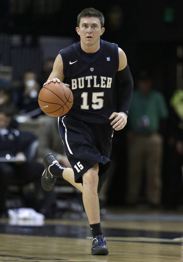 Butler guard Rotnei Clarke brings the ball upcourt against Vanderbilt in the second half of an NCAA college basketball game on Saturday, Dec. 29, 2012, in Nashville, Tenn. Clarke led his team with 22 points as Butler won 68-49. (AP Photo/Mark Humphrey) ORG XMIT: TNMH113