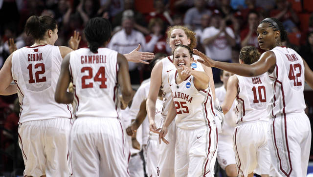 Oklahoma's Jelena Cerina (12), Sharane Campbell (24), Joanna McFarland, Whitney Hand (25) and Kaylon Williams (42) celebrate during a timeout in the first half of an NCAA tournament first-round women's college basketball game against Michigan in Norman, Okla., Sunday, March 18, 2012. (AP Photo/Sue Ogrocki)