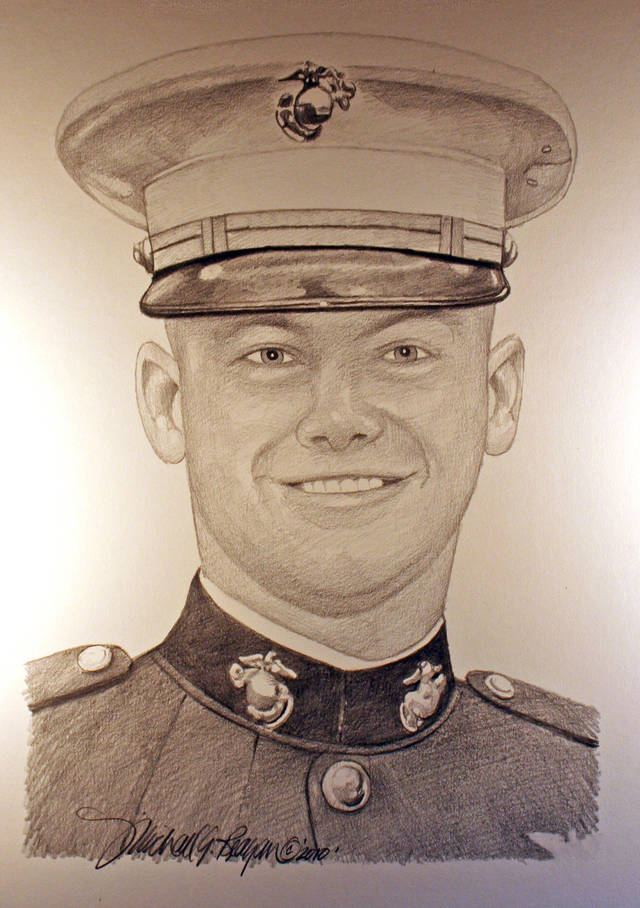 A hand-drawn portrait of Matthew Freeman, who was killed on Aug. 7, 2009 in Afghanistan, by artist Michael Reagan is shown Thursday, Oct. 4, 2012. Since starting the Fallen Heros Project in 2004, Reagan has drawn more than 3,000 portraits and given them free-of-charge to families of fallen soldiers. (AP Photo/Courtesy Michael Reagan)