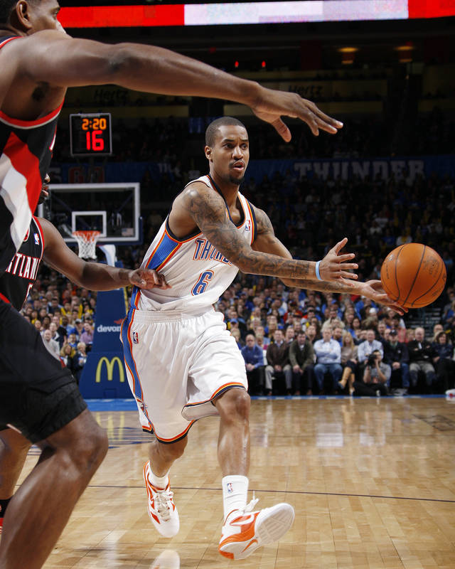 Oklahoma City's Eric Maynor (6) passes the ball in the first half during the NBA basketball game between the Oklahoma City Thunder and Portland Trail Blazers at Chesapeake Energy Arena in Oklahoma City, Tuesday, Jan. 3, 2012. Photo by Nate Billings, The Oklahoman