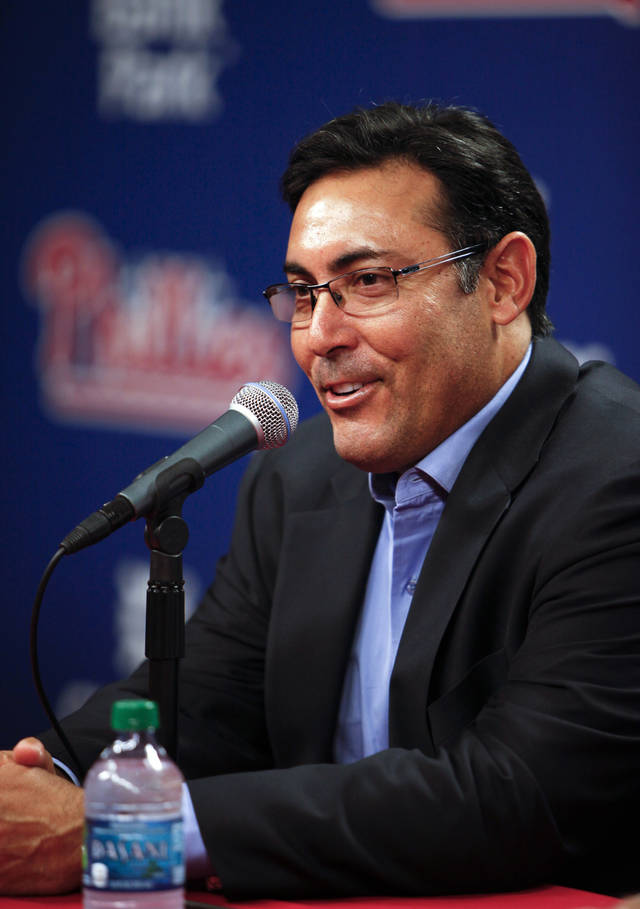 Philadelphia Phillis senior vice president and general manager Ruben Amaro Jr. speaks to members of the news media during a news conference on Thursday Oct. 4, 2012, in Philadelphia. (AP Photo/ Joseph Kaczmarek)