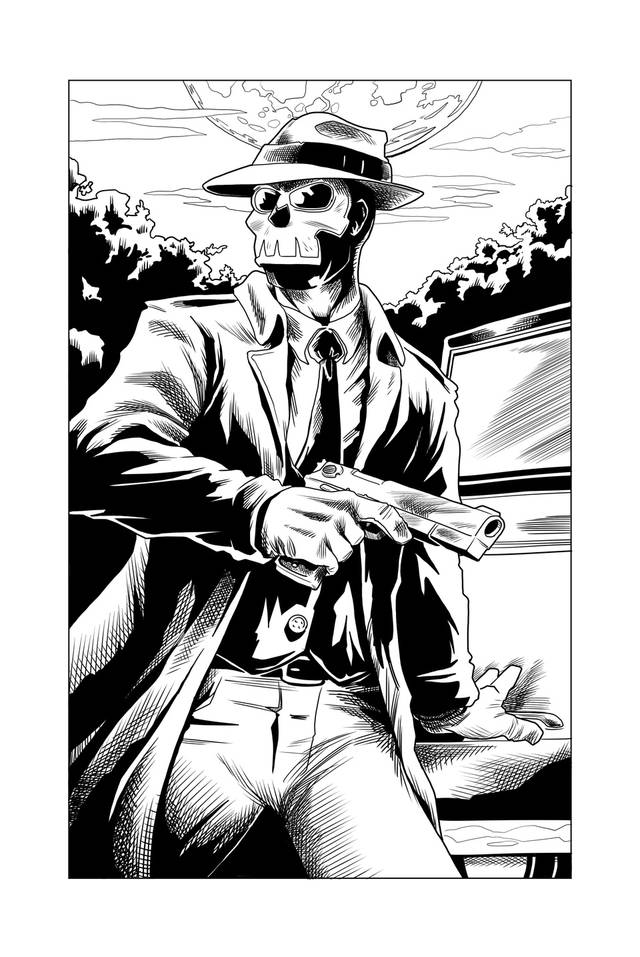 """A page featuring the pulp-style character """"The Grave"""" from the upcoming """"Speeding Bullet Comics Presents,"""" published by Speeding Bullet Comics, 614 N Porter Ave. in Norman.  """"The Grave"""" is written by Matthew Price with layouts by Hunter Huskey and inks and finished art by Jerry Bennett.  Sterling Gates is the editor of the story.   """"Speeding Bullet Comics Presents"""" #1 is scheduled for a spring 2014 release."""