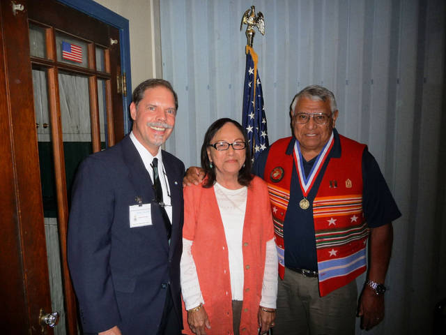 Sons of the American Revolution Chapter President Martin Reynolds with Marti Poolaw and retired Capt. Robert Poolaw. Photo provided