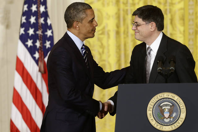 President Barack Obama shakes hands with White House Chief of Staff Jack Lew  on Jan. 10 in the East Room of the White House in Washington, after he announced that he will nominate Lew as the next Treasury Secretary. AP Photo <strong>Charles Dharapak - AP</strong>