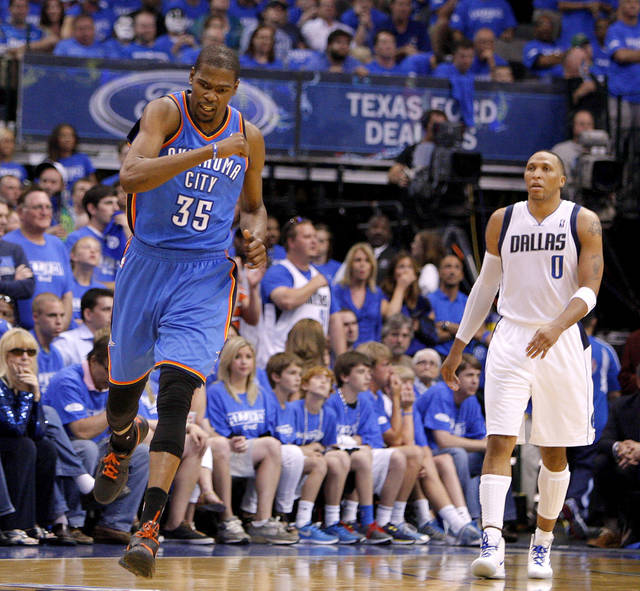 Oklahoma City's Kevin Durant (35) reacts beside Dallas' Shawn Marion (0) during Game 4 of the first round in the NBA playoffs between the Oklahoma City Thunder and the Dallas Mavericks at American Airlines Center in Dallas, Saturday, May 5, 2012. Oklahoma City won 103-97. Photo by Bryan Terry, The Oklahoman